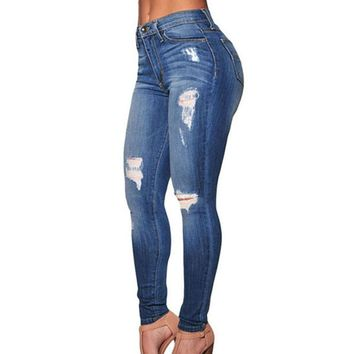 Women's Ripped Skinny Jeans Destroyed Casual Slim Cotton Denim Trousers