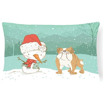 English Bulldog Snowman Christmas Canvas Fabric Decorative Pillow CK2053PW1216