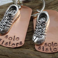 Pair of 2 Two Sole Sisters Running Key Chains - Hand Stamped Runner Key Rings - Woman Accessory - Keychain Key Ring