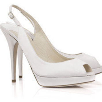 Jimmy Choo | Clue satin peep-toe slingbacks | NET-A-PORTER.COM