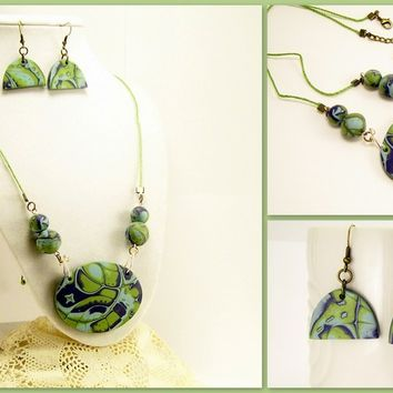 Mokume Cane Necklace and Earring Set, Blue and Green, Handmade Polymer Clay Jewelry