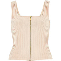 River Island Womens Light pink ribbed zip front top