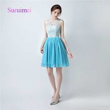 Real Picture Ice Blue Bridesmaid Dresses 2018 Prom Dress Button On Back Scoop Cap Sleeve Top Lace Cheap Short Prom Gowns