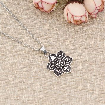 Mandala Six Pattern Words Pendant Amulet Religious Necklace Jewelry For Women