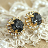 Gray black diamond  Crystal stud Petite classic vintage style earring - 14k Gold plated post earrings real swarovski rhinestones.
