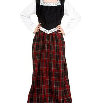 Black Bodice White Sleeves Red Plaid Skirt Childrens Steampunk Outfit Dress