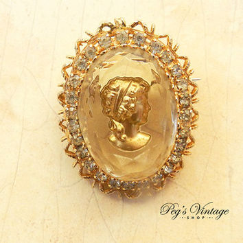 Vintage Gold Plate Rhinestone Intaglio Glass Cameo Pin/Brooch, Antique Victorian Gold Filgree Jewelry