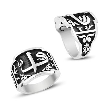 Alif vav letter monogram sterling silver band mens ring