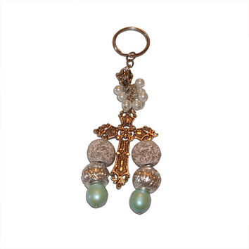 Plastic and Glass Beaded and Metal Cross Charm Keychain