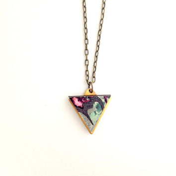 Patterned Mini Triangle Geometric Necklace - Blue Patterned Laser Cut Wood Pendant Geometric Jewellery Triangle Jewellery