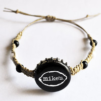 Mike's Hard Lemonade Recycled Bottle Cap Hemp Bracelet, Unique jewelry, Black and Silver