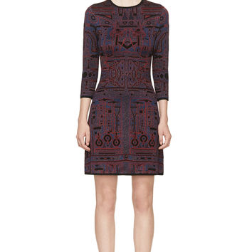 Mary Katrantzou Blue And Red Metallic Knit Toolbox Dress