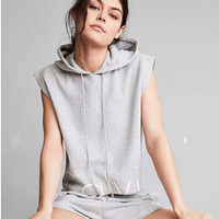 Women Sporty Sleeveless Sweater Hoodie And Shorts a10058