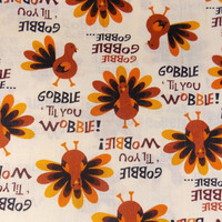 Turkey Fabric 1.5 Yards Thanksgiving Fabric Gobble Turkey Holiday Fabric Table Runner Fabric Craft Fabric Turkeys Quilt Fabric Home Decor