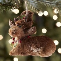 Natural Moose with Hat Ornament
