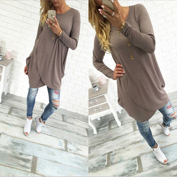 Twist Front Long Sleeve Tall Shirts in Coffee or Grey