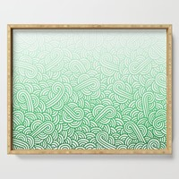 Gradient green and white swirls doodles Serving Tray by savousepate