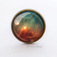 Universe jewelry, nebula ring / stud earrings, woman gift, galaxy, glass cabochon jewellery by The Neverland