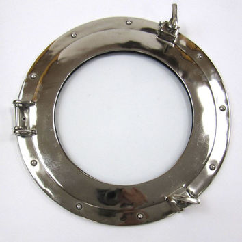 "Porthole Mirror Chrome Plated Long Lasting 15"" Wall Decor"