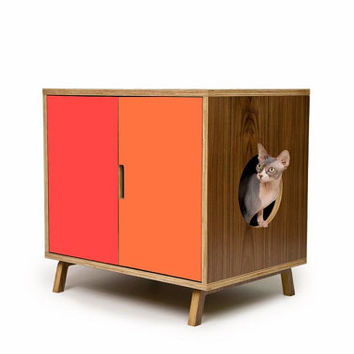 Mid Century Modern Pet Furniture // Cat Litter Box Cover // Pet House // Side Table