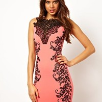 Lipsy Lace Neck Dress with Emboss Detail at asos.com