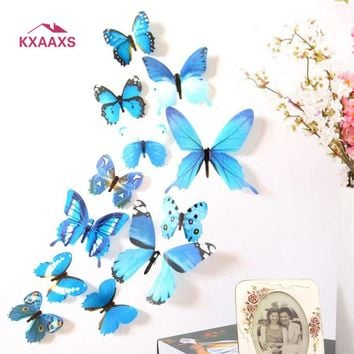 12 pcs/set DIY 3D Butterfly wall stickers home decor for living room,bedroom,kitchen,toilet,and Festive wedding decoration #py