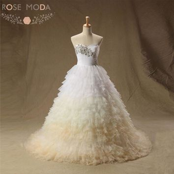 Rose Moda Luxury Ombre Ball Gown Strapless Champagne Wedding Dress Plus Size Lace Up Back Real Photos