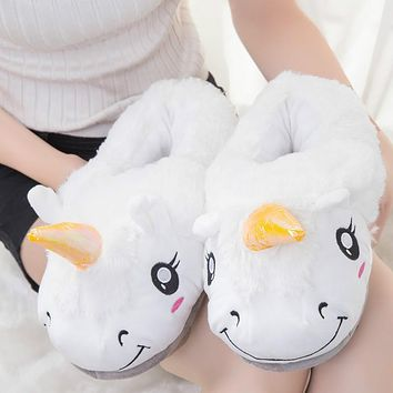2017 Winter Indoor Slippers Plush Home Shoes Unicorn Slippers for Grown Ups Unisex Warm Home Slippers Shoes Christmas gift 1027W