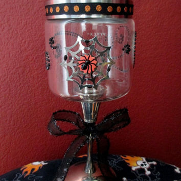 Halloween Apothecary Jar ~ Pyrex Glass Jar with Silver Plated Valero Candle Holder. Spider with Web Sticker & Crystal Embellishments!