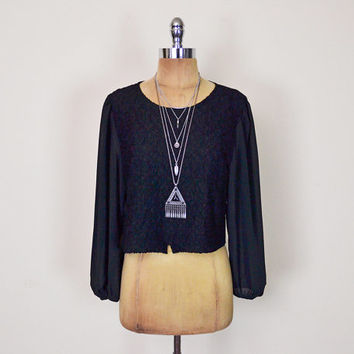 Vintage 70s 80s Black Lace Blouse Sheer Blouse Crop Blouse Crop Top Shirt 70s Blouse 70s Hippie Blouse Boho Blouse Gypsy S Small M Medium