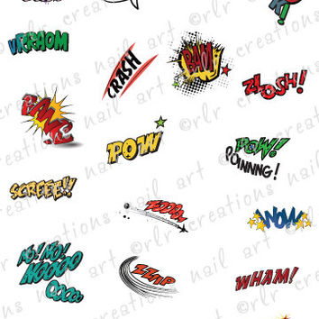20 COMIC BOOK Expressions Water Slide Nail Art Decals 20 Different vintage comic expressions Nail Decals