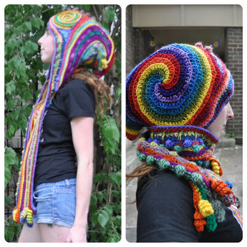 Rainbow Freeform Crochet Wizard Hood // Hooded Scarf