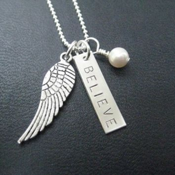 I BELIEVE with CRYSTAL or PEARL - Sterling Silver BELIEVE with Pewter Wing - Choose your Crystal or Pearl - Sterling silver BELIEVE and Pewter WING with Sterling or Leather and Sterling Chain