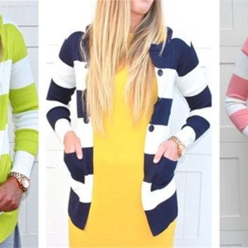 Long Striped Cardigan in 6 Colors!