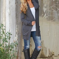 The Nearness of You Cardigan - Charcoal