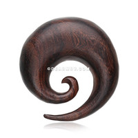A Pair of Spiral Swirl Organic Sono Wood Ear Gauge Taper Hanger