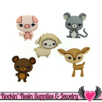 Jesse James Buttons 5 pc Animal Cuties Baby Animal Buttons