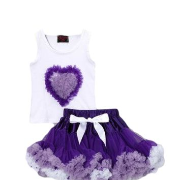 Purple Heart & Pettiskirt & Top Set