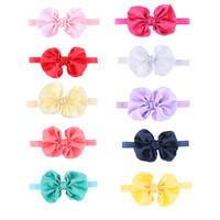 Kids Baby Girls Satin Flower Big Bow Hairband Elastic Headband Stretch Turban Knot Head Wrap Floral Hair Band Accessories