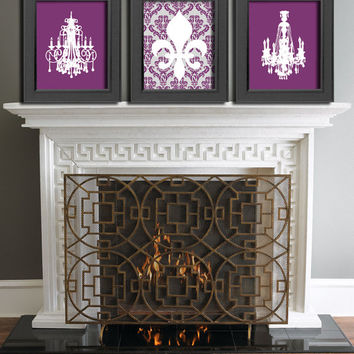 French Art print set Chandelier Poster print Fleur de lis art Housewares Bedroom Wall decor Plum Damask wall hanging Boudoir wall decor