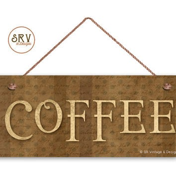 "COFFEE Sign,  Rustic Cafe Sign, Weatherproof, 6""x14"", Rustic Signs, Housewarming Gift, Kitchen Sign, Brown Tones, Made To Order"