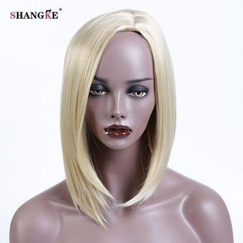 LMFOK5 SHANGKE Blonde Bob Wig For African Americans Women Short Synthetic Wigs For Black Women Blonde Heat Resistant Fake Hairpieces