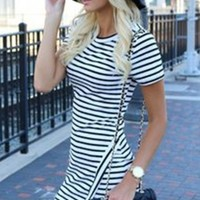 Short Sleeve O-Neck Striped Sexy Slim Dress