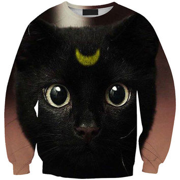 Cat Eyes Half Moon 3D Print Long Sleeve Sweatshirt