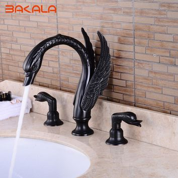 BAKALA Bath Shower Black/Golden/ Swan Faucet 3pcs Bathroom Torneira Taps Dual handle Basin Sink Rotatable Mixer