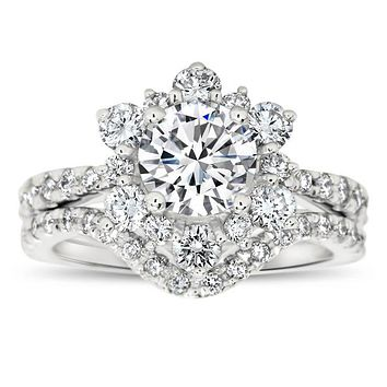Diamond Snowflake Wedding Set Engagement Ring and Wedding Band - Snowflake Set