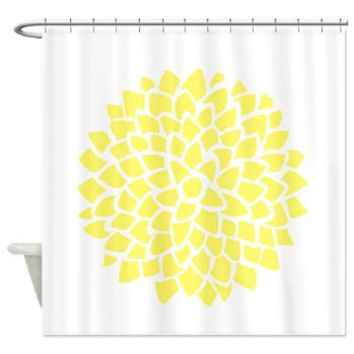Sunny Yellow Dahlia On White Shower Curtain