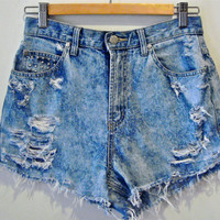 High Waisted Vintage Denim Light Acid Wash Cutoffs by FFShorts