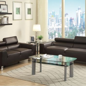 Poundex F7264 2 pc chelsea ii collection espresso bonded leather sofa and love seat set with adjustable headrests