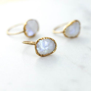 Rainbow Moonstone Ring, June Birthstone Ring, Anniversary Ring, Large Gemstone, Moonstone Statement Ring, Bridesmaid Gift for Her MOON-G-F-L